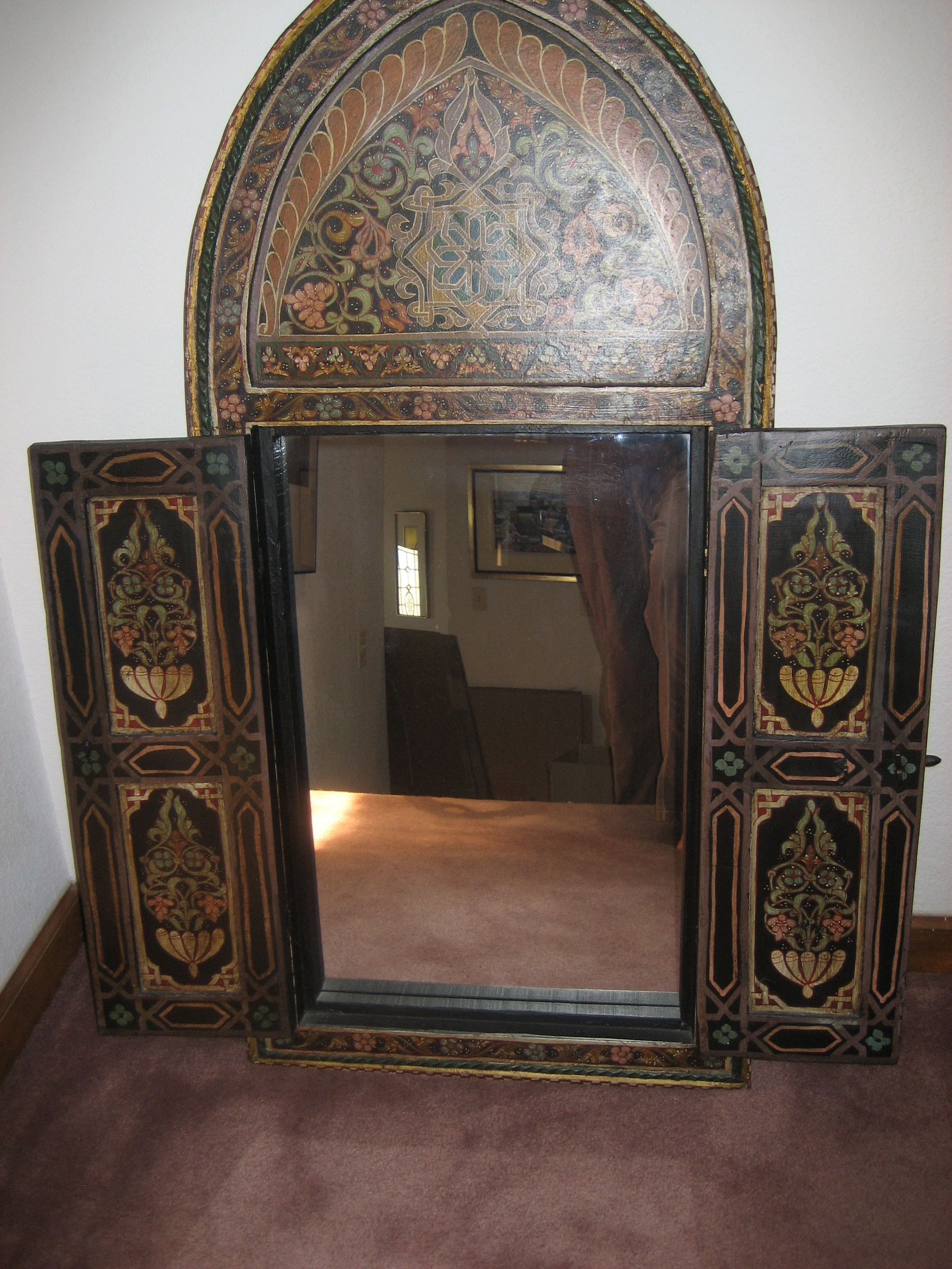 Moroccan Hand Painted Wooden Window Frame Mirror